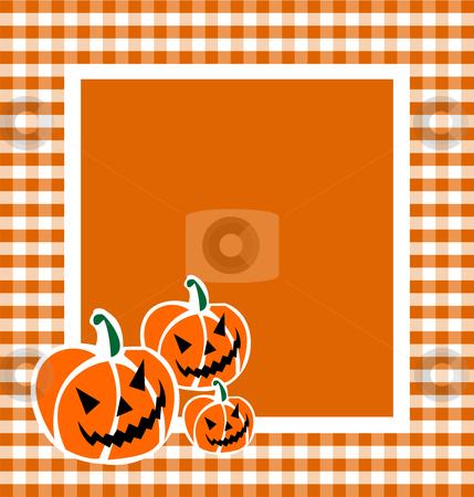 Halloween Pumpkin Background stock vector clipart, Halloween pumpkin faces in a grid framework. Orange background. Vector available by Cienpies Design