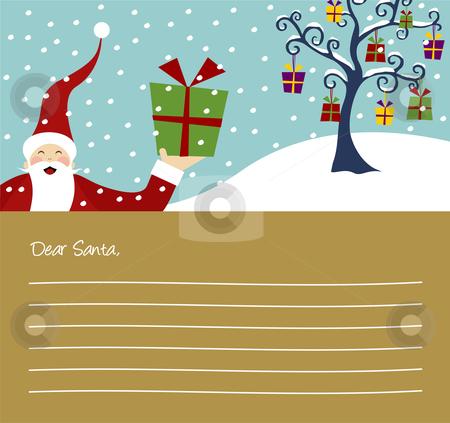 Christmas series: Happy Santa Claus and Christmas tree card stock vector clipart, Happy Santa Claus and Christmas tree with lots of gifts letter background by Cienpies Design