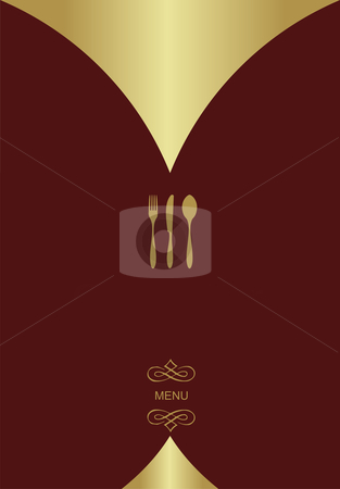 Vintage Menu Background stock vector clipart, Vintage Menu Background. Food and restaurant design with golden cutlery silhouette. Vector available by Cienpies Design