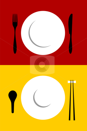 Place setting backgrounds on red and yellow stock vector clipart, Place setting backgrounds for Western and Oriental food. Fork, knife, plate, spoon and chopsticks on red and yellow background. Vector available by Cienpies Design