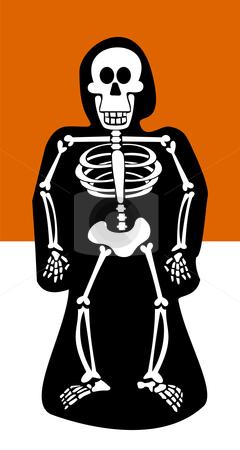 Halloween Background. Skeleton dressed in black stock vector clipart, Halloween skeleton dressed in black. Orange and white background. Vector available by Cienpies Design