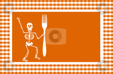 Halloween Skeleton Background stock vector clipart, Halloween skeleton holding a fork in a grid framework. Orange background. Vector available by Cienpies Design