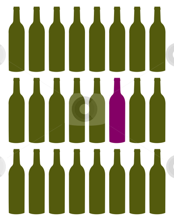 Wine bottles set stock vector clipart, Wine bottles set. Purple bottle among green collection. Concept of uniqueness. White background by Cienpies Design