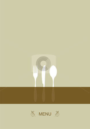 Menu design for restaurant  stock vector clipart, Vintage Menu Background. Food and restaurant design with cutlery silhouette. Vector available by Cienpies Design