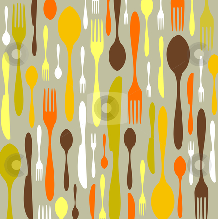 Cutlery pattern stock vector clipart, Spoon, knife and fork pattern. Warm colors on clear background. Vector available by Cienpies Design