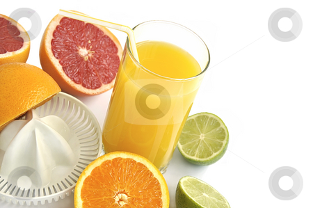 Juicer with slices of citruses and glass of fresh orange juice. stock photo, Juicer with slices of citruses and glass of fresh orange juice isolated over white. by Liana Bukhtyyarova