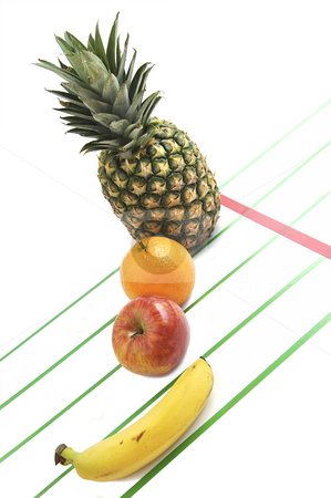 Fruit's race. stock photo, Competition of fresh fruits. Diet concept. by Liana Bukhtyyarova