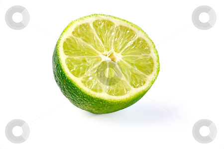 Cut lime.  stock photo, Juicy lime on white background with clipping path. by Liana Bukhtyyarova