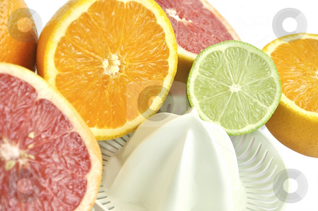 Juicer with slices of grapefruit, orange and lime. stock photo, Juicer with slices of grapefruit, orange and lime on white. by Liana Bukhtyyarova