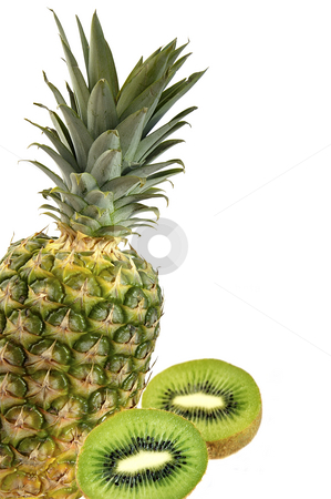 Pineapple and kiwi isolated over white.  stock photo, Cut kiwi and pineapple isolated over white with space for text. by Liana Bukhtyyarova
