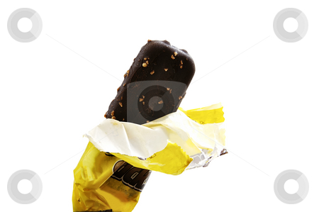 Ice cream bar. stock photo, Ice cream bar (vanilla covered with chocolate and almonds) isolated over white. by Liana Bukhtyyarova