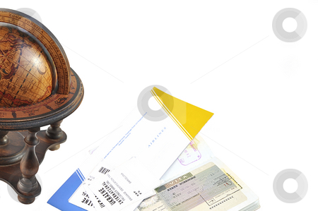 Globe, passport and air ticket with baggage check. stock photo, Old wood globe, passport and air ticket with baggage check isolated over white. Travel concept. by Liana Bukhtyyarova