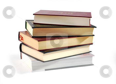 Pile of books. stock photo, Pile of books isolated over white with clipping path. by Liana Bukhtyyarova