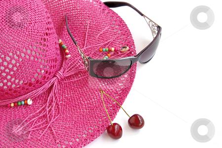 Pink beach hat, glasses and two sweet cherries on white.  stock photo, Pink beach hat, sun glasses and two sweet cherries on white. Summer's theme. by Liana Bukhtyyarova