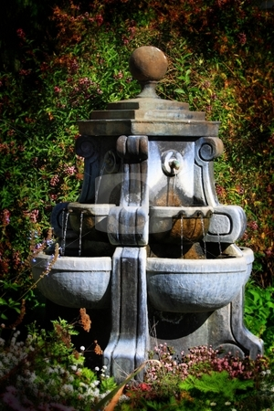 Water Fountain stock photo, Water fountain with a green garden in the background. by Henrik Lehnerer