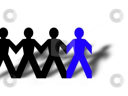 Group Man Blue stock photo, Group of man standing in line on white background by Henrik Lehnerer