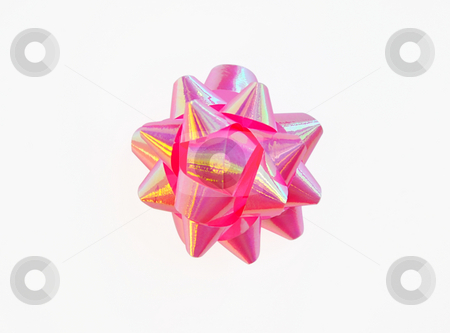 Pink shiny ribbon. stock photo, Pink shiny ribbon on white with clipping path. Can be used in placing on top of items - gifts, products, etc. by Liana Bukhtyyarova