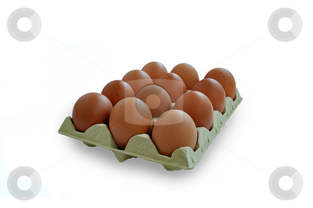 Tray of eggs. stock photo, Tray of eggs on white with clipping path. by Liana Bukhtyyarova