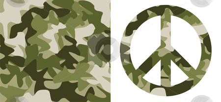 Camouflage pattern and Peace Symbol stock vector clipart, Camouflage pattern and peace symbol with the same texture over white background by Cienpies Design