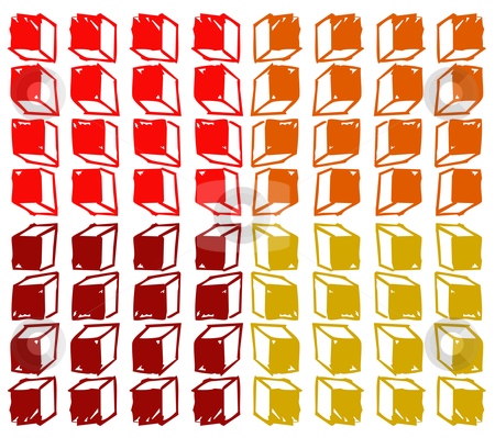 Cubes background stock vector clipart, Colored cubes background. Warm tones. Vector available by Cienpies Design