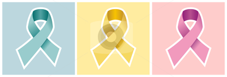 Cancer ribbon set on colored backgrounds. stock vector clipart, CANCER ribbon set in blue yellow and pink. Light colours backgrounds. Vector file by Cienpies Design