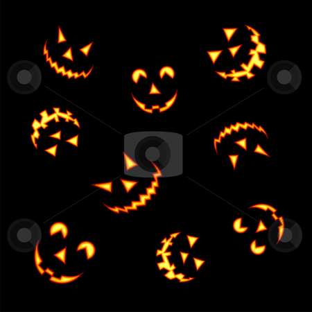 Halloween pumpkin faces stock vector clipart, Halloween pumpkin faces lit brightly on black background by Cienpies Design