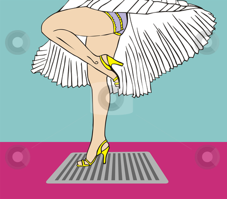 Marilyn Monroe legs style with flying dress stock vector clipart, Marilyn Monroe legs style. White dress flying due to the air of the sewer. Vector available. by Cienpies Design