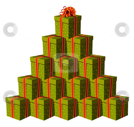Gift boxes forming a Christmas tree stock vector clipart, Green gift boxes forming a Christmas tree with a red ribbon as a star. White background. Vector available by Cienpies Design