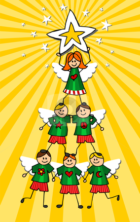 Children Christmas Tree over yellow background stock vector clipart, Kids climb together to form a Christmas tree with a girl on top holding a star. Vector illustration by Cienpies Design