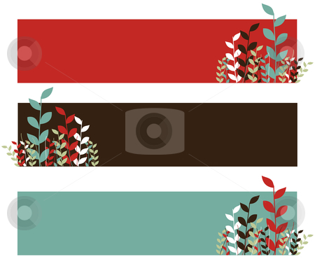 Spring leaves pattern.  stock vector clipart, Spring pattern. Growing leaves on red, black and blue wide stripes. White background. Vector available by Cienpies Design