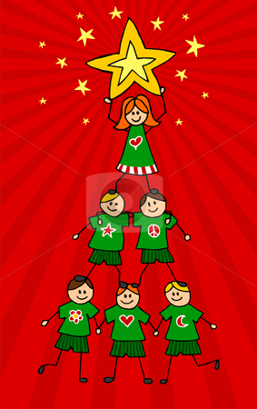 Kids Christmas Tree stock vector clipart, Children climb together to form a Christmas tree with a girl on top holding a star. Red background. Vector available by Cienpies Design
