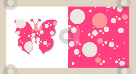 Isolated butterfly on white and a bubbles background stock vector clipart, Patches of a butterfly pattern and a background of bubbles. Pink tones. by Cienpies Design