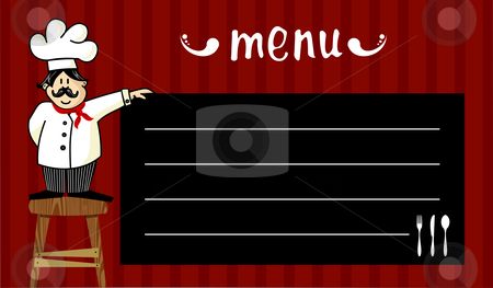 Chef and daily menu stock vector clipart, Funny chef on a wooden bench, holding a blackboard where the menu is written daily. Striped red background. by Cienpies Design