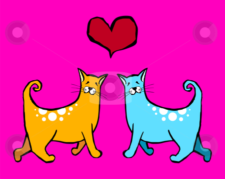 Cats Valentines stock vector clipart, Couple of cats in love. Red heart above them on pink background by Cienpies Design