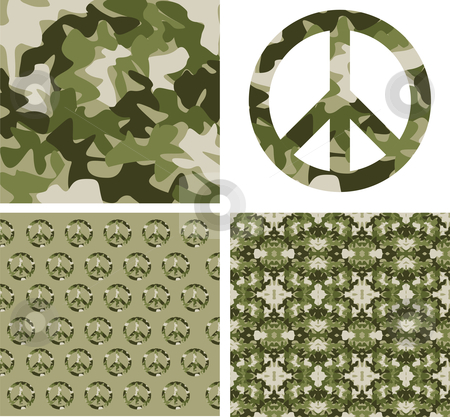 Camouflaged peace patchs stock vector clipart, Camouflage and peace symbol patterns. Vector available by Cienpies Design
