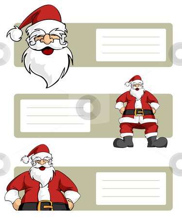 Christmas series: Santa Claus character with blank lables stock vector clipart, Happy Santa Claus planes variations with blank striped labels to write. White background. Vector illustration by Cienpies Design