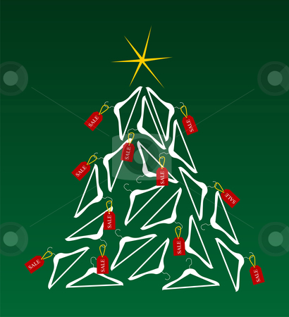 Sales Christmas Tree stock vector clipart, Christmas tree made of clothes hangers ornated with red sale labels. Yellow shiny star on top. Green background. Vector available by Cienpies Design