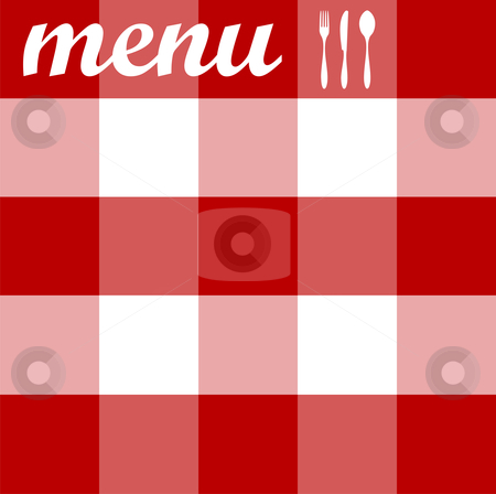 Menu design. Cutlery on red tablecloth texture stock vector clipart, Food, restaurant, menu design with cutlery silhouettes on red tablecloth texture. Vector available by Cienpies Design