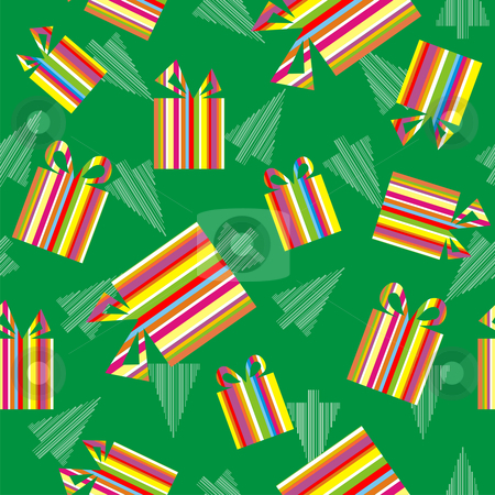 Christmas gifts and trees background stock vector clipart, Christmas Gift Boxes colorful striped textured. White Christmas Trees on Green background. Vector available by Cienpies Design