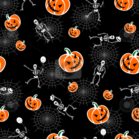 Halloween pumpkins and skeleton background stock vector clipart, Halloween pumpkins and skeleton on black background. Vector available by Cienpies Design