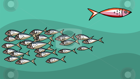 Fish Swimming Against The Tide stock vector clipart, Different Fish Swimming Against The Tide. Green Background. Vector available by Cienpies Design