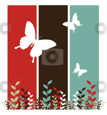Butterflies and leaves background stock vector clipart, Butterfly and leaf pattern. Spring motif design on red, black and blue vertical bars. White background. Vector available by Cienpies Design