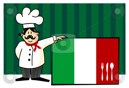 Chef of italian cuisine stock vector clipart, Chef of italian cuisine. Food, restaurant, menu design with cutlery silhouette on the country flag. Striped blue background. Vector available by Cienpies Design