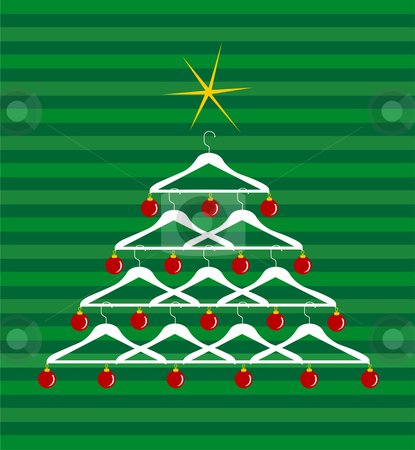 Fashion Christmas Tree stock vector clipart, Christmas tree made of clothes hangers ornated with red balls. Yellow shiny star on top. Green striped background. Vector available by Cienpies Design