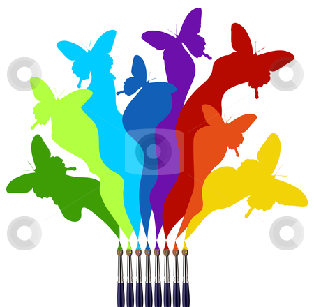Paint brushes and colored butterflies rainbow stock vector clipart, Eight paint brushes drawing a colorful rainbow of a butterfly swarm.  White background by Cienpies Design