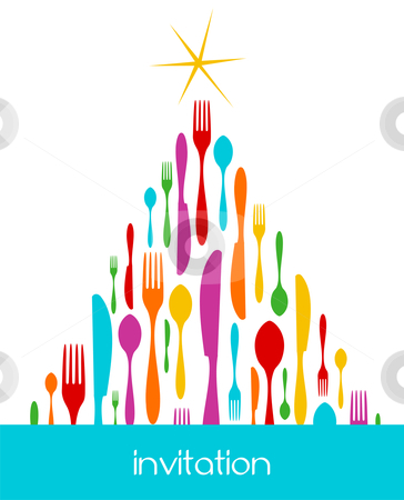 Christmas Tree Cutlery Pattern stock vector clipart, Christmas Tree Cutlery. Fork, spoon and knife colorful pattern forming a tree with a shiny golden star on top. White background. Usable as invitation card. Vector file available. by Cienpies Design