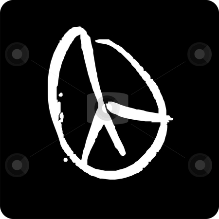 Peace Symbol stock vector clipart, White peace icon on black background by Cienpies Design