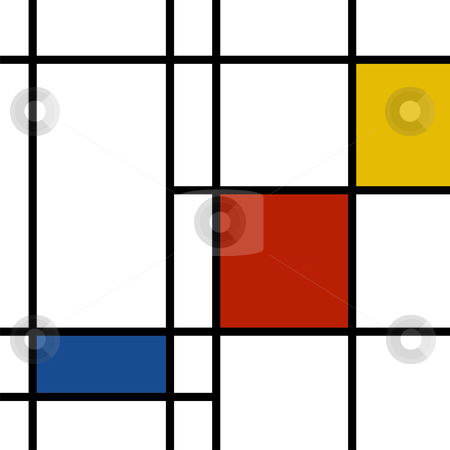 Mondrian inspiration stock vector clipart, Mondrian inspired vibrant colors background by Cienpies Design