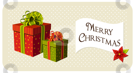 Christmas gifts boxes stock vector clipart, Gift boxes and banner with red Christmas flower. Beige background with white spots. Vector available by Cienpies Design