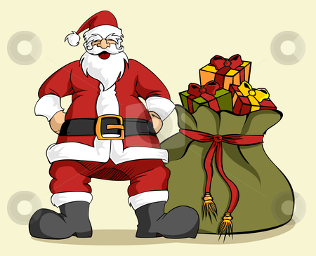 Christmas series: Santa Claus and gifts bag stock vector clipart, Happy Santa Claus laughing with hands on hips with a large Christmas gifts bag. Clear background. by Cienpies Design